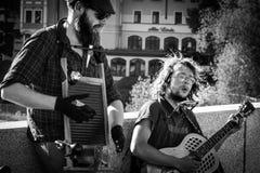 Regensburg, Bavaria, Niemcy, Mai 17, 2017, Uliczny muzyk przy kamienia mostem w Regensburg Fotografia Stock