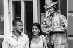 Regensburg, Bavaria, Niemcy, Sierpień 22, 2017: Uliczny artysta jako żywa statua w zwyczajnej strefie w Regensburg, Niemcy Fotografia Royalty Free