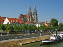 Regensburg with Cathedral. At the Danube in Germany Stock Photography