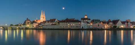 Regensburg in the evening with view to the Cathedral and stone bridge, Germany Royalty Free Stock Photography