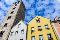 Regensburg, Germany - July, 09 2016: Facades of historic architectures and Tower in Regensburg.  stock photo