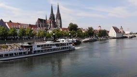 Regensburg, Germany - 26 July, 2018: Regensburg Museum of Danube Shipping. Tourist ship Bruckmadl sails on Danube river stock video