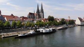 Regensburg, Germany - 26 July, 2018: Regensburg Museum of Danube Shipping, popular tourist destinations. Tourist ship on stock video footage