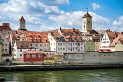Regensburg, Germany - July, 09 2016: View from the River Danube of the Old Hauses and Towers royalty free stock photos