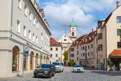 Regensburg street view with Kirche St. Mang royalty free stock photography