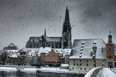 Regensburg (Germany). Panorama of Regensburg downtown with its old cathedral (Germany Stock Photo