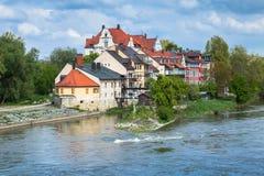 Regensburg krajobraz w jaskrawym letnim dniu Zdjęcia Stock