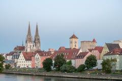Regensburg mit Ansicht zur Kathedrale, Deutschland Stockfoto