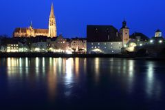 Regensburg at  night Royalty Free Stock Images