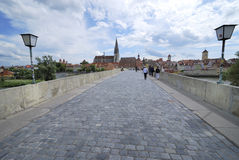 Regensburg stone bridge Stock Images