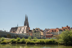 Regensburg with view to the Cathedral and stone bridge, Germany Royalty Free Stock Photo