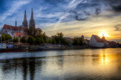 Regensburger Donauufer Fotos de archivo