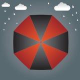 Regenschirm auf der Spitze und dem Regenhintergrund stock abbildung