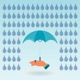 Regenschirm in der Hand lizenzfreie abbildung