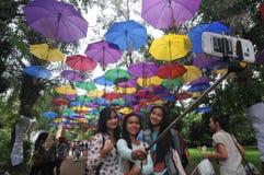 Regenschirm-Festival in Indonesien stockfotos