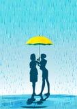 Regenschirm im Regen Stockfotos