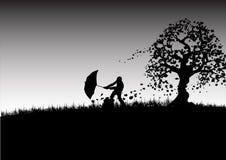 Regenschirm-Mann Stockfoto