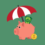Regenschirm schützen Geld Lizenzfreie Stockbilder