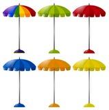 Regenschirm in sechs verschiedenen Farben Stockfotografie