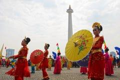 Regenschirm-Tänzer stockfoto