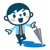 Regenschirm und junger Geschäftsmann Stockbilder