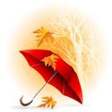 Regenschirm und Regen Autumn Icon Minimalistic Style Stockfotos