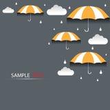 Regenschirm- und Regenhintergrund lizenzfreie abbildung