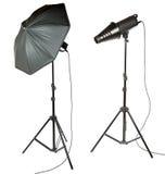 Regenschirm und snoot für Fotografen Lizenzfreie Stockfotos