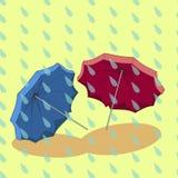 Regenschirm zwei im Regen Stockfoto