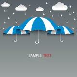 Regenschirmblau und Regen, Hintergrund lizenzfreie abbildung