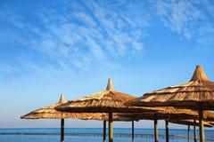 Regenschirme auf Strand Stockfoto
