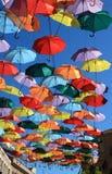 Regenschirme Madrid, Getafe, Spanien Stockfotografie