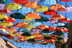 Regenschirme Madrid, Getafe, Spanien Stockfoto