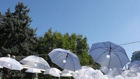 Regenschirme mit Birnen im Wind stock video