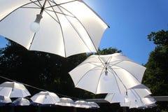 Regenschirme mit Licht in der Mitte Lizenzfreies Stockfoto