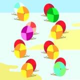 Regenschirme von verschiedenen Farben Lizenzfreie Stockbilder