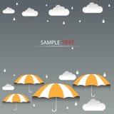 Regenschirmorangen- und -regenhintergrundvektor lizenzfreie abbildung