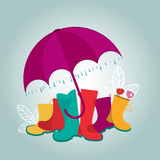 Regenschirmstiefel und -vögel Lizenzfreie Stockfotografie