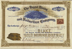 1901 The Regent Mining and Reduction Company Stock Certificate Royalty Free Stock Images