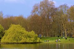 Regent`s park in spring, London, England stock photos