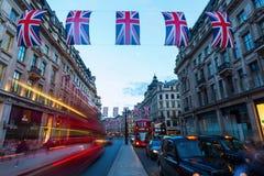 Regent Street à Londres, R-U, la nuit Photos libres de droits