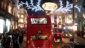 2014, Regent Street with Christmas Decoration stock video