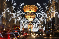 2013, Regent Street with Christmas Decoration Royalty Free Stock Photos