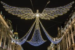 Regent Street Christmas Lights in London stockfotos