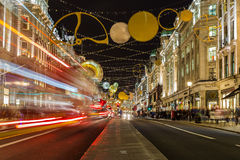 Regent Street during Christmas. Royalty Free Stock Image