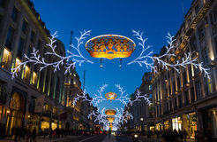 Regent Street Christmas steekt 2013 aan royalty-vrije stock foto