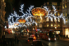 2013, Regent Street con la decorazione di Natale Fotografie Stock Libere da Diritti