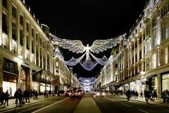 Regent Street in Kerstmisseizoen stock afbeelding