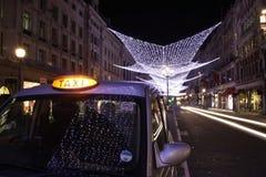 Regent Street Lights and London Taxi. 2008 Christmas lights on Regent street Stock Image