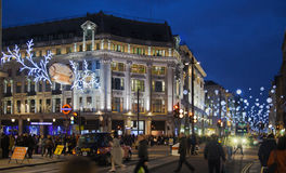 Regent street. London gets Christmas decoration. Streets beautifully lit up with lights, London Stock Photography